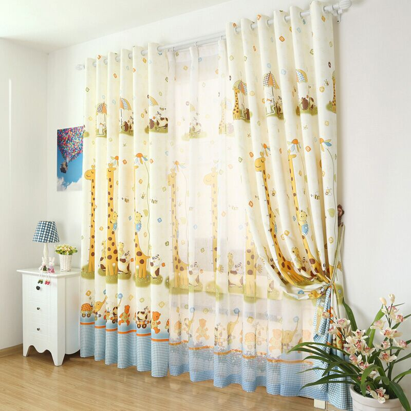 Giraffe cute cartoon animals custom curtains for kids room for Cute curtain ideas for living room