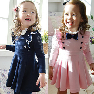 Free Shipping! 2014 fashion autumn bow double breasted girls clothing baby long-sleeve dress
