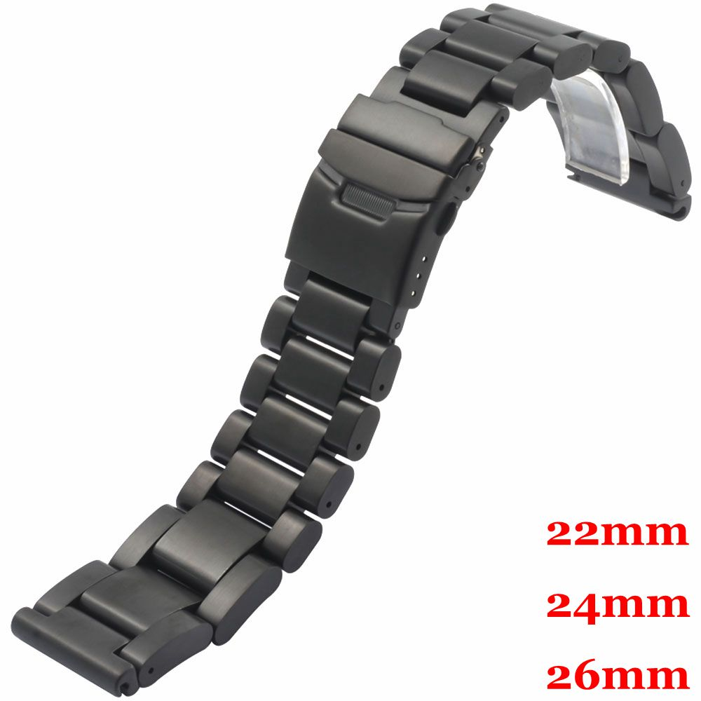 Black 22/24/26mm Men Woman Stainless Steel Watch Band 2 Spring Bars Business Smart Watches Strap GD0135