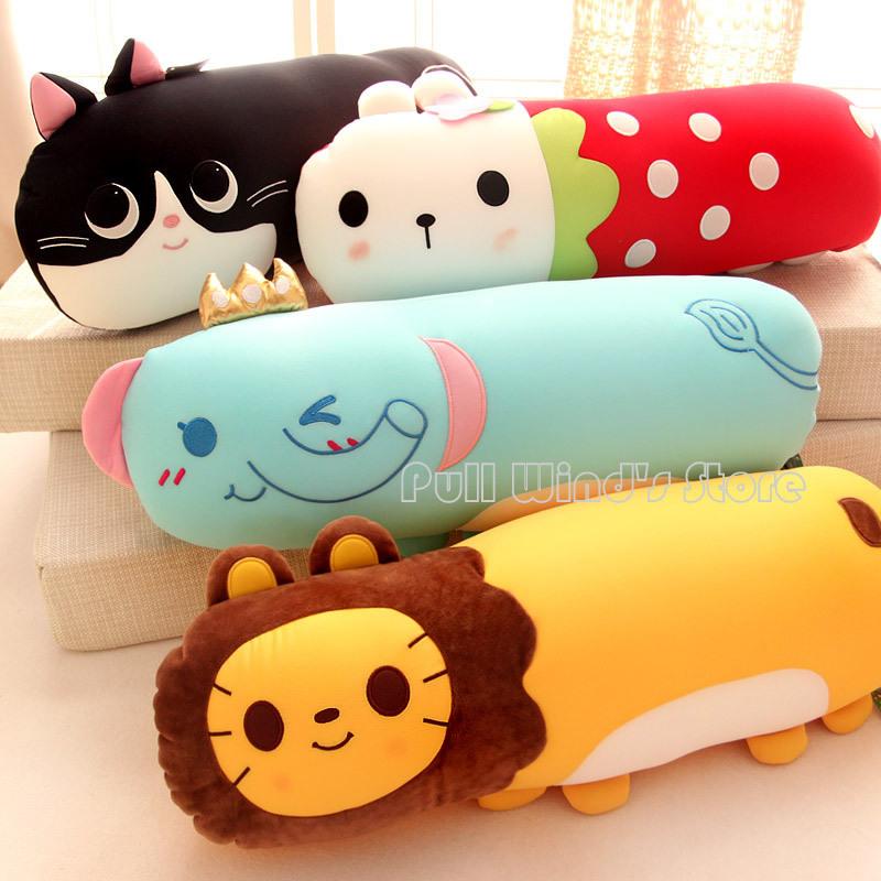 Cute animal plush pillow Cartoon plush toys Cylindrical Personalized pillow Plush Doll Toys Children girls birthday gift(China (Mainland))