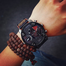 Fashion JIS Sport Military Brand Quartz PU Leather Wrist Watch Hours Clock for Male Men High