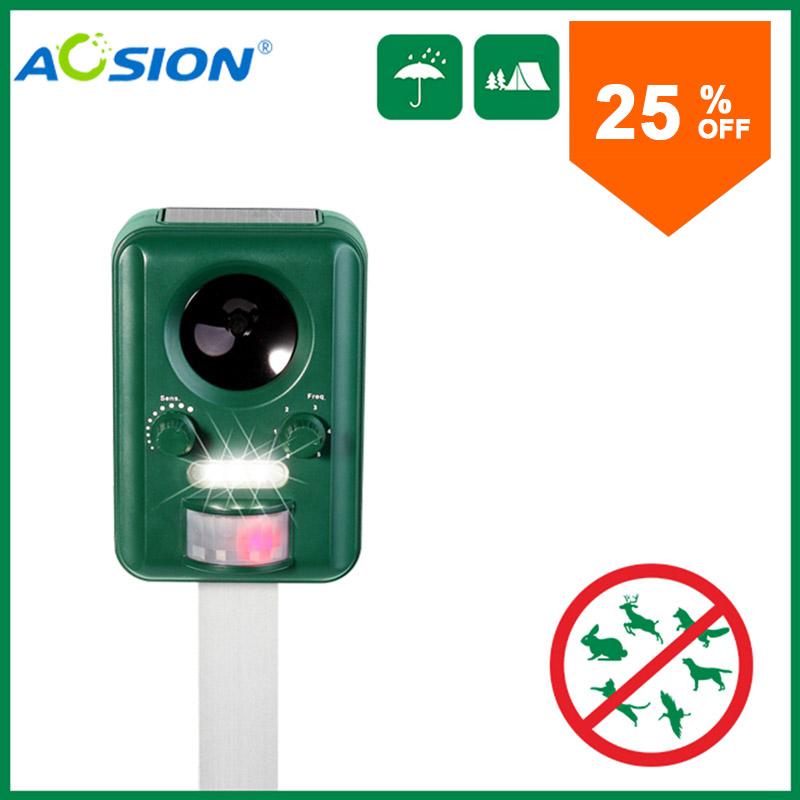 Aosion Outdoor garden use Waterproof Solar ultrasonic animal dog cat bird repeller repellent chaser AN-B030(China (Mainland))
