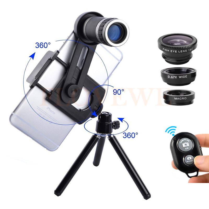 8X Lens Zoom Telephoto Lenses Telescope Microscope Macro Clip Tripod Wide Angle Fisheye Lentes iPhone 6 7 Xiaomi Huawei