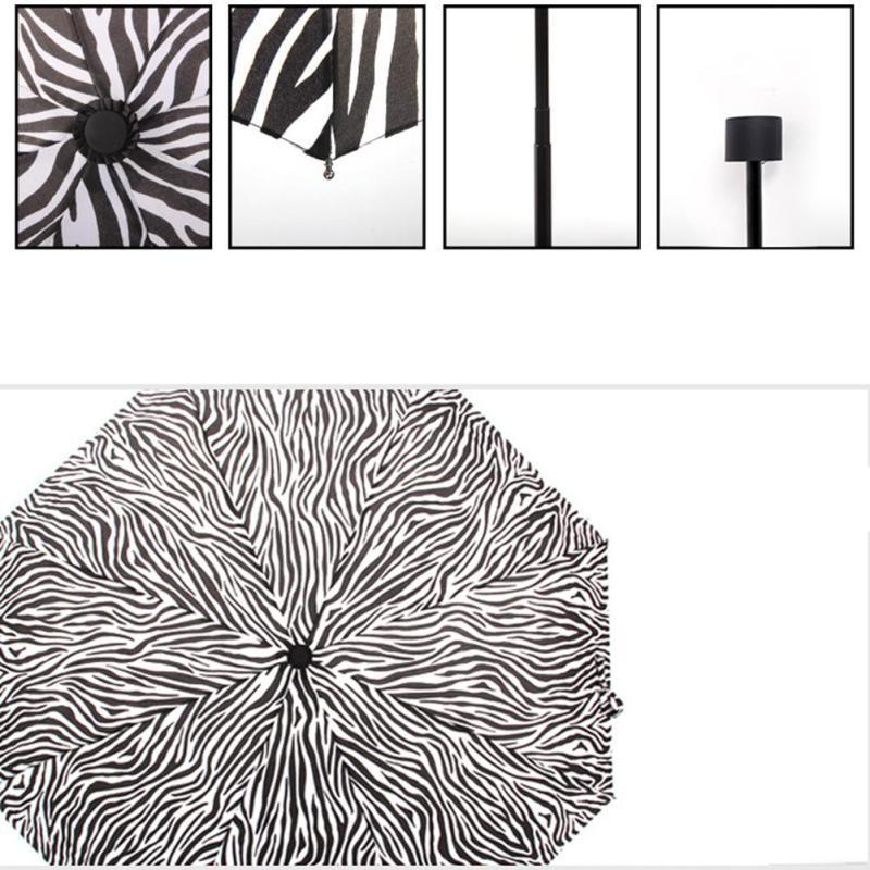 zebra patterns folding beach umbrella black coating parasol UV sunny ... d41cd53597ab