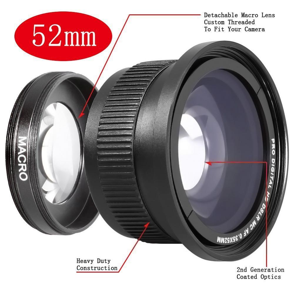 Neewer 52mm 0.35x Super Fisheye Wide Angle Lens for 52 MM Nikon D7200 D7100 D5200 D5100 D5000 D3100 D90 D60 With 18-55mm Lens(China (Mainland))