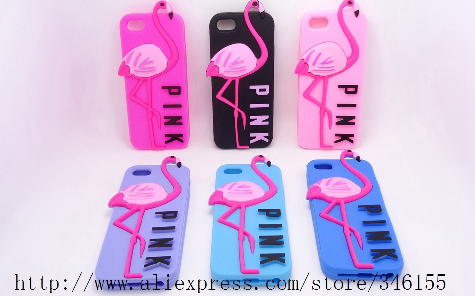 Victoria/'s Secret PINK Luxe Rubber Soft 3D Cartoon Animal Flamingo soft silicone Case iphone 4 4s 4g - Shen zhen HW (3C store Digital Accessories Company)