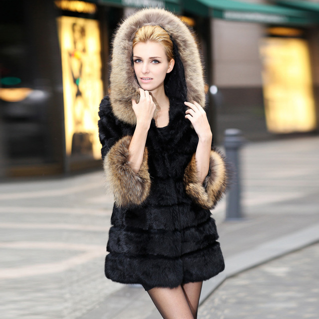 2012 New Arrival Fashion Women's Fur Coat Medium-Long Hooded Slim Rabbit Fur Coat Large Fur Collar Fur Overcoat Free Shopping