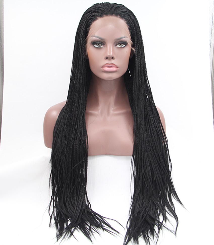Здесь можно купить  hot selling black plait wig European style synthetic braided lace front wigs premium for black women free shipping in stock  Волосы и аксессуары