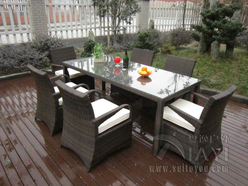 7 Pcs Rattan Garden Dining Sets , Washable Resin Wicker Patio Furniture  Transport By Sea(