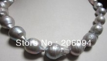"""wholesales designer jewelry HUGE 18"""" SOUTH SEA BAROQUE GRAY PEARL NECKLACE  fashion jewelry,gift(China (Mainland))"""