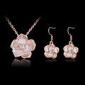 Enamel African Jewelry Sets Women s Yellow Gold Silver Plated Filled Rose Flower Necklace Earrings Wedding