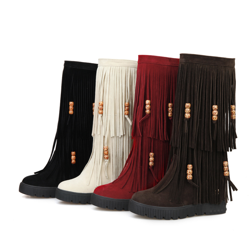 New 2015 Winter Fashion Mid Calf Women Tassel Fringe Boots Black Red Brown Sexy Lady Wedge Shoes AY906-2 Plus Big Size 10 44<br><br>Aliexpress