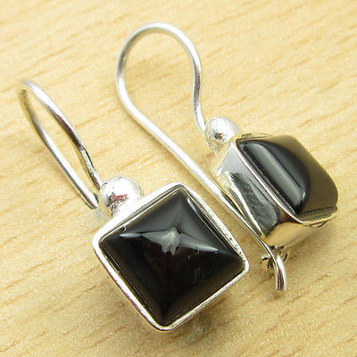 Silver Plated Sparkling BLACK ONYX LIGHTWEIGHT Earrings 1 Inches RETAILER(China (Mainland))