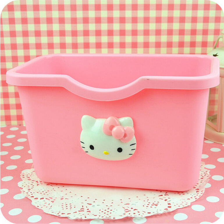 storage box creative kitchen trash cabinet doors hanging trash Desktop storage box hello kitty(China (Mainland))