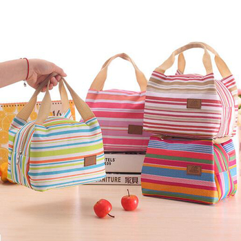 2015 Insulated Neoprene Canvas Stripe Thermal Bags Kids Baby Tote Lunchbag Picnic Lunchbox Lancheira Termica Bolsa Termica