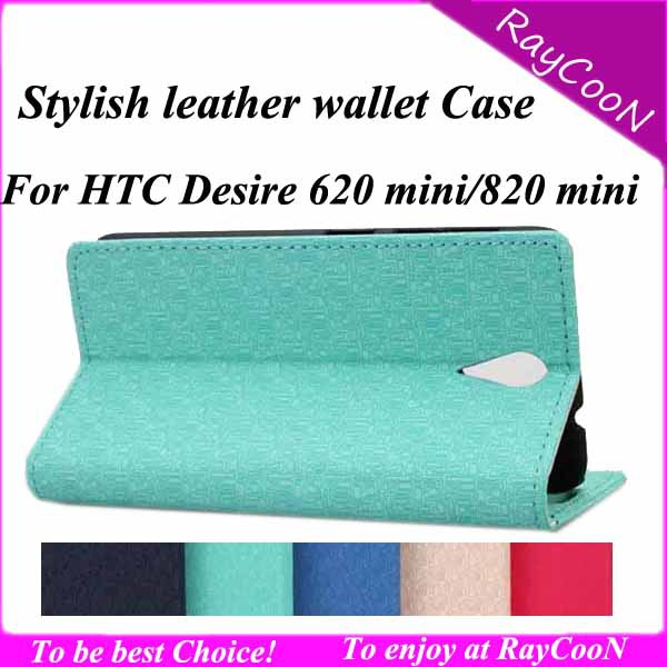 10pcs/lot high Quality stylish PU leather wallet case for HTC Desire 820 mini,PU leather cover for HTC 620 mini,can mix 5 color