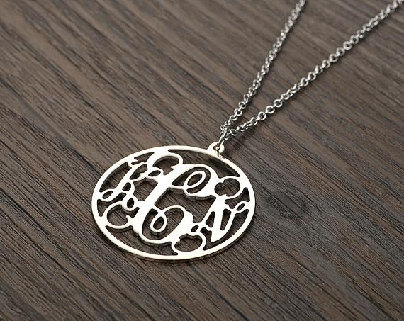 Personalized Silver 925 Circle Monogram Necklace -3 Initials Circle Monogram Necklace - Block Monogram Nameplate(China (Mainland))
