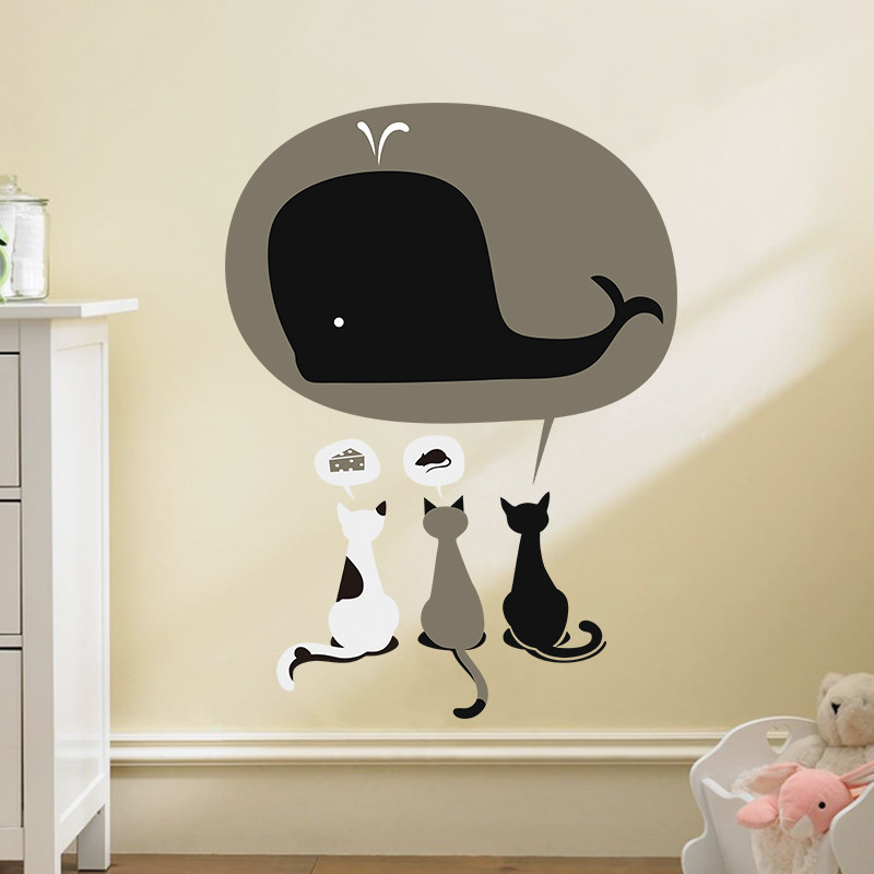 Cartoon 3 Lovely cat Have Dream Cake Mouse Whale wall stickers for Kids Rooms diy home kitchen decor nursery decal wallpaper(China (Mainland))
