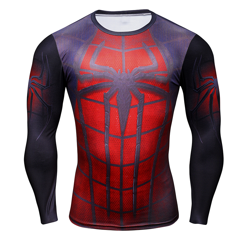 hot men g ym compression shirt marvel spiderman long sleeve t shirt tights mens fitness base. Black Bedroom Furniture Sets. Home Design Ideas