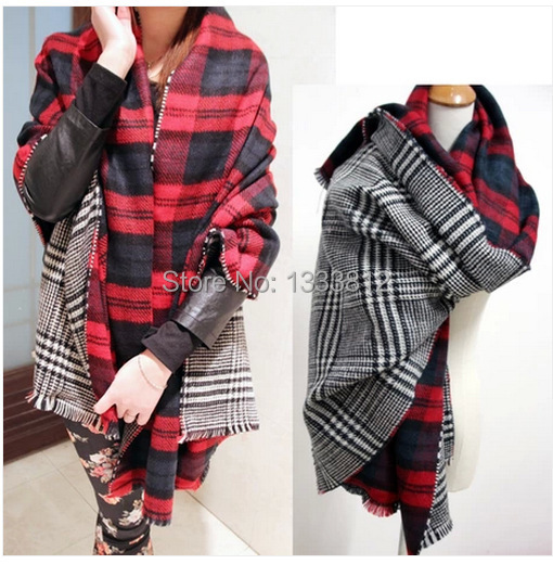 New 2015 Double Sided Large Plaid Houndstooth Scarf Soft Super thick warm scarf Tassel Shawl Scraf(China (Mainland))