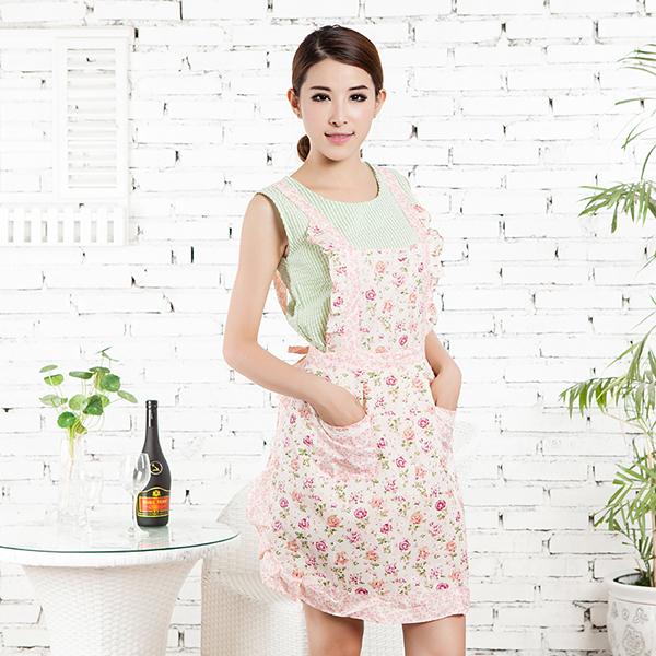 Flower Pattern Kitchen Bib Apron Home Dress Cooking Apron Pocket Lace Restaurant(China (Mainland))