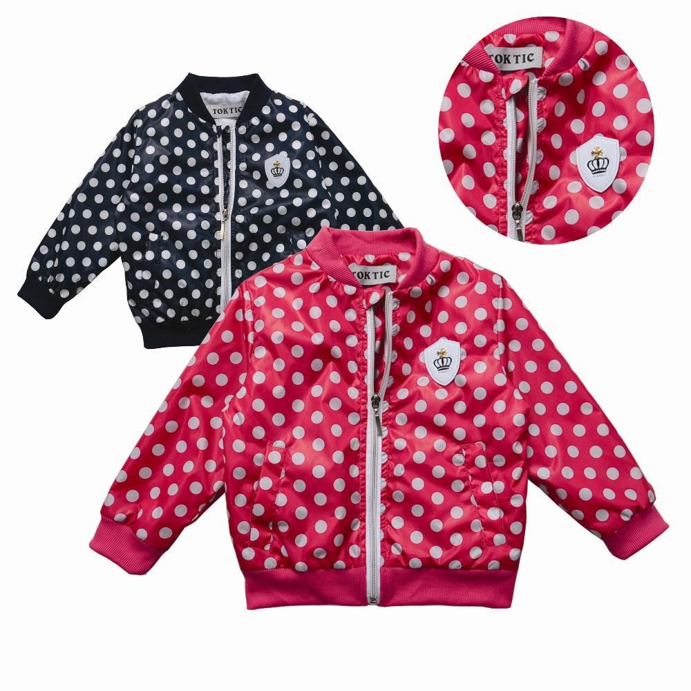 jackets for girls Cute dot casual jacket kids Jacket 2-6 age children outwear new autumn and winter fashion(China (Mainland))