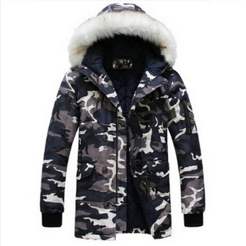 2015 new winter jacket for mens parka Fashion cool men Camouflage large fur collar long design wadded jacket outerwear warm coat(China (Mainland))