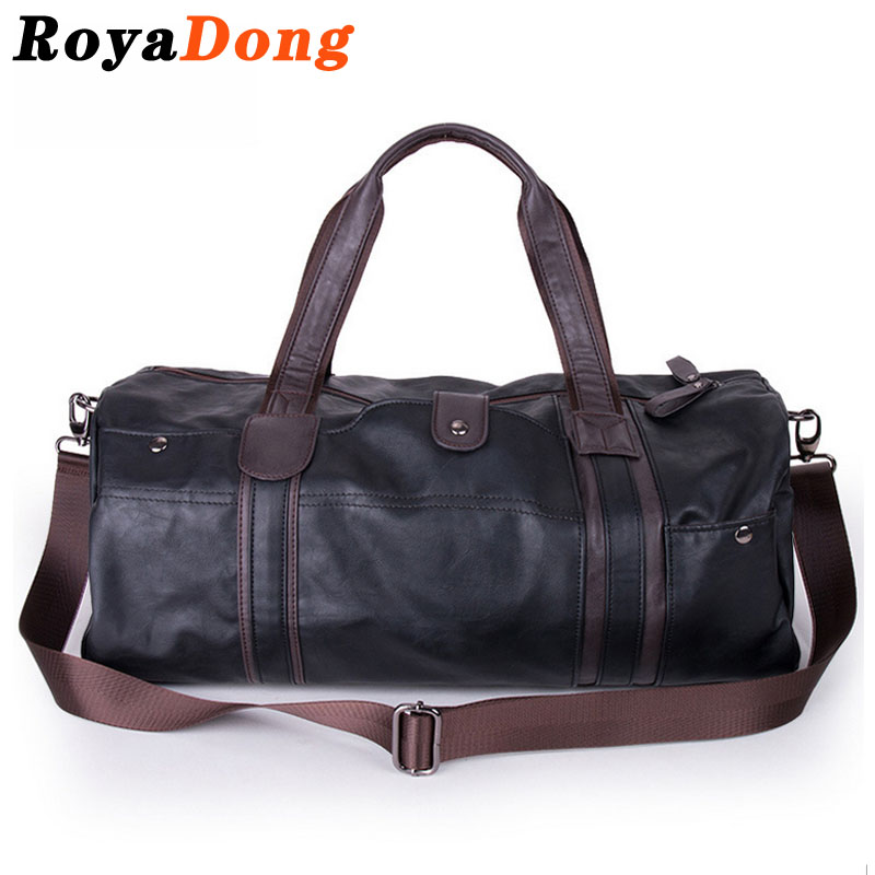 RoyaDong Travel Bag Large Handbags Luggage Para Uomo PU Leather Black Sports Bags Men Gear Fitness Duffel Equipment 2016 Holdall(China (Mainland))