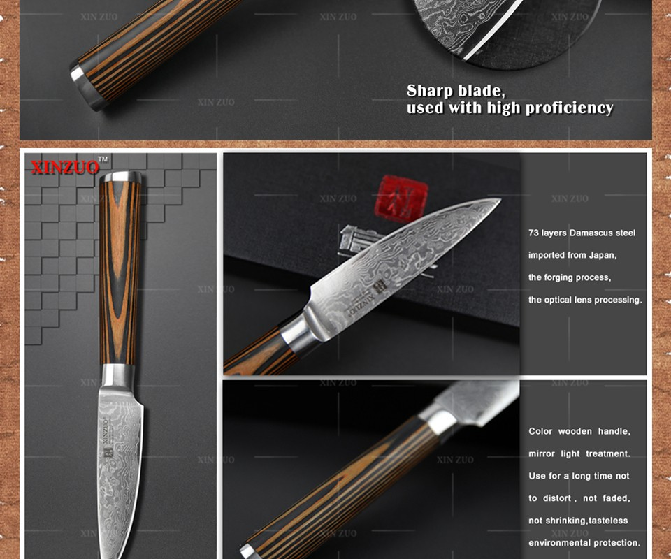 """Buy XINZUO NEW 3.5"""" fruit knife Damascus kitchen knives Japanese vg10 paring knife damascus steel table parer knife FREE SHIPPING cheap"""