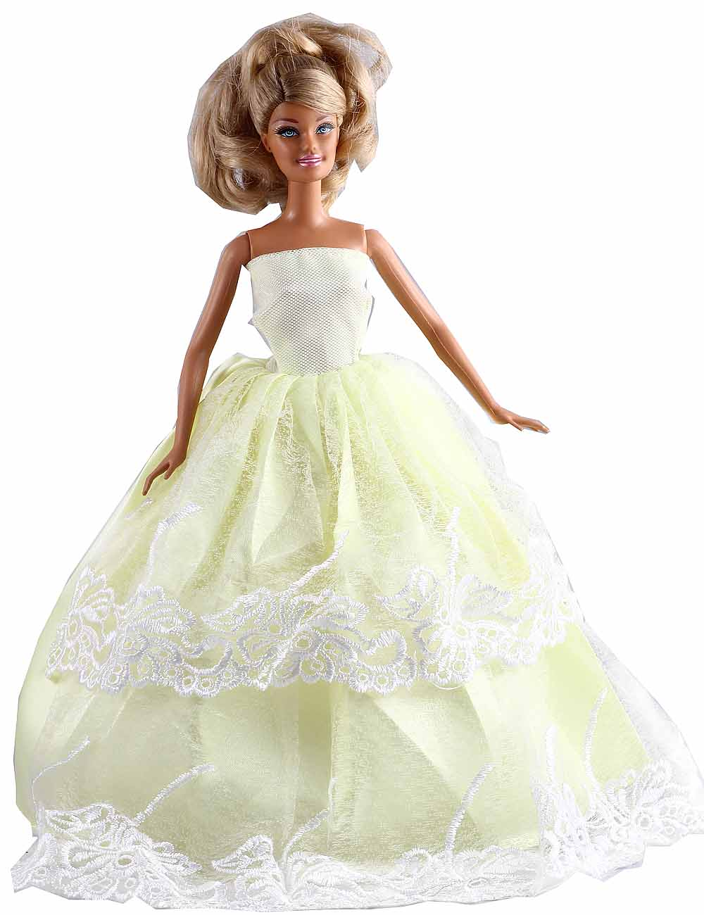 "New Fashion Handmade Two Tier Yellow Lace Dress/Party Dress Clothes Gown For 11"" Barbie Doll D1110(China (Mainland))"