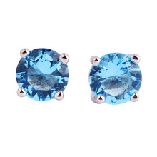 lingmei Wedding Dazzling Style Unisex Forever Love Blue Topaz  Stud Silver Earrings Fashion Jewelry Free Shipping Wholesale(China (Mainland))