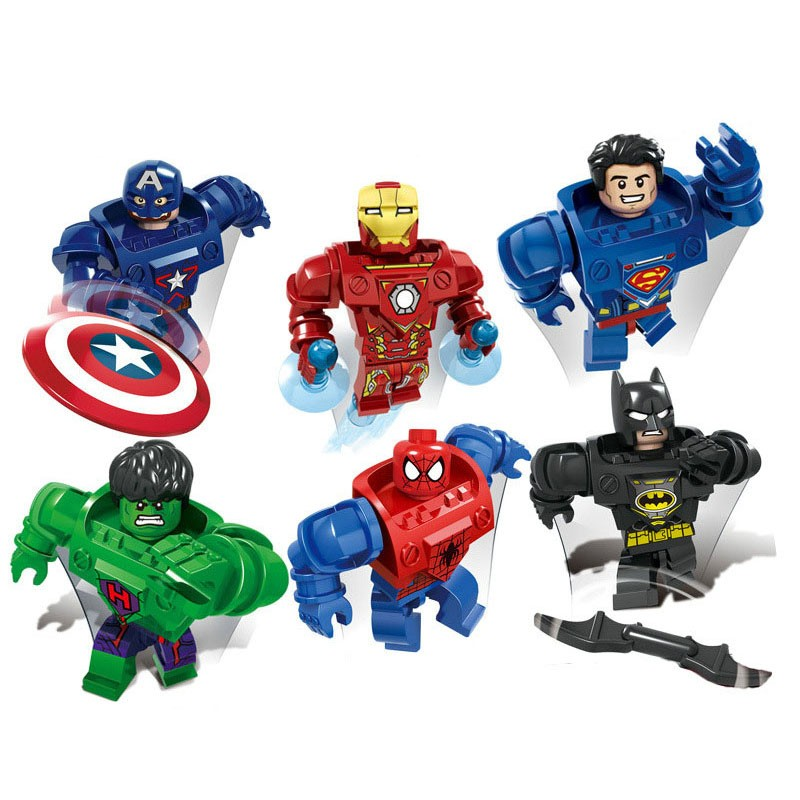 6pcs/lot Marvel Super Heroes The Avengers Figures Building Blocks Sets Mini Bricks Toys Compatible with Movie Figures(China (Mainland))