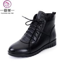Más Tamaño (35-43) moda Mujer Zapatos de las mujeres Botas de Nieve Plana de Invierno de Cuero Genuino Botines Mujer Botas Ocasionales Cómodos(China (Mainland))