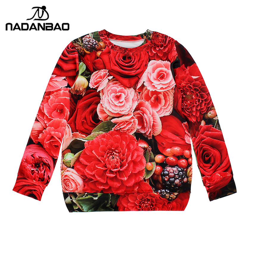 2015 New Arrival Long sleeve sudaderas ROSE OPEN Women Hoodies high quality 3D Print Pullovers Sweatshirts star Molten WJW1009(China (Mainland))