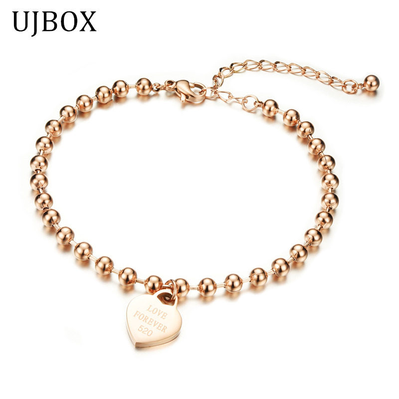 MiLaTu New 18k Rose Gold Plated Love Heart Anklets Bracelets For Women Stainless Steel Foot Anklets Jewelry Bijoux Pieds A001(China (Mainland))