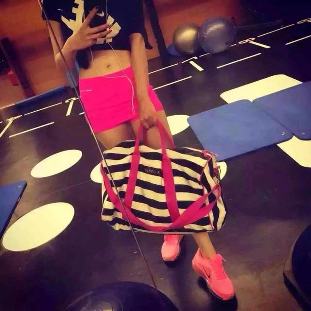 Дамы dual-ручки тренажерный зал клуб мешка женщин розовый спорт спортивная сумка ...