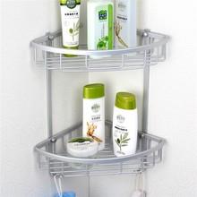 Lowest Price Triangular Aluminium Hanging Triangular Bathroom Shower Accessories Corner Storage Shelf Rack Holder Basket(China (Mainland))