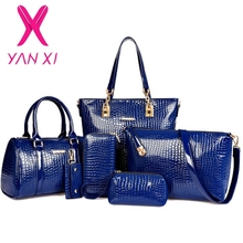 Buy 3 1 Fashion luxury designer crocodile PU leather Tote+Shoulder Satchel/Messenger+Clutches composite bags brand handbags set for $25.64 in AliExpress store