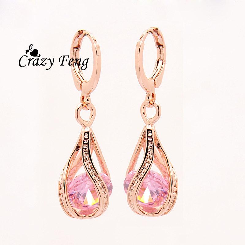 Free shipping New Fashion Women/Girl's 18k Rose Gold Filled white/pink/purple/green CZ Diamond Pierced Dangle Earrings Jewelry(China (Mainland))