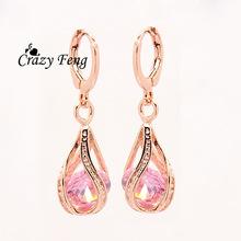 Free shipping New Fashion Women/Girl's 18k Rose Gold Plated white/pink/purple/green CZ Diamond Pierced Dangle Earrings Jewelry(China (Mainland))