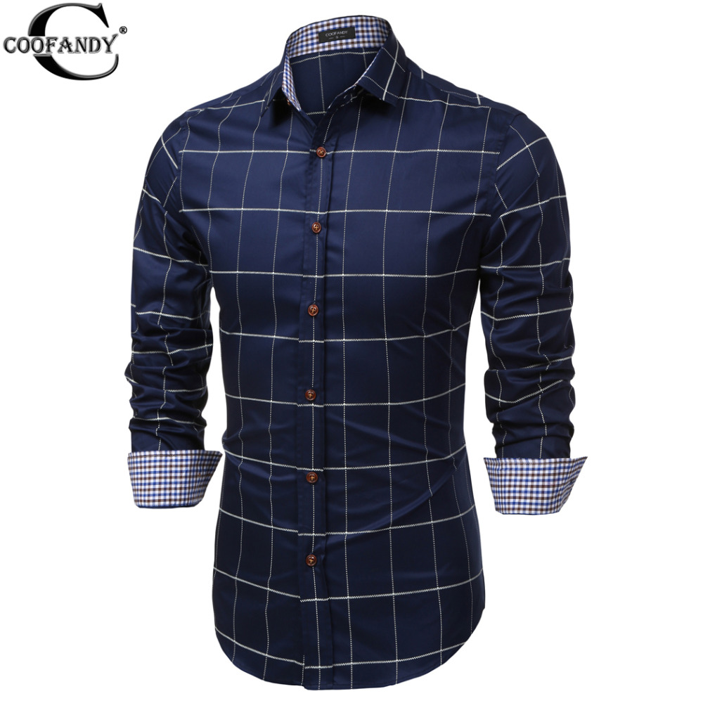 COOFANDY Spring Fashion Brand Men Clothes Slim Fit Men Long Sleeve Big Plaid Turn Down Collar Blouse Button Down Casual Shirts(China (Mainland))