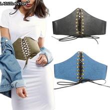 Buy LAISIDANTON Lady Ultra Wide Belt Elastic Waist Girdle Jeans Fabric Elastic Corset Belt Punk Rivet Tied Waist Belt Retro for $12.98 in AliExpress store