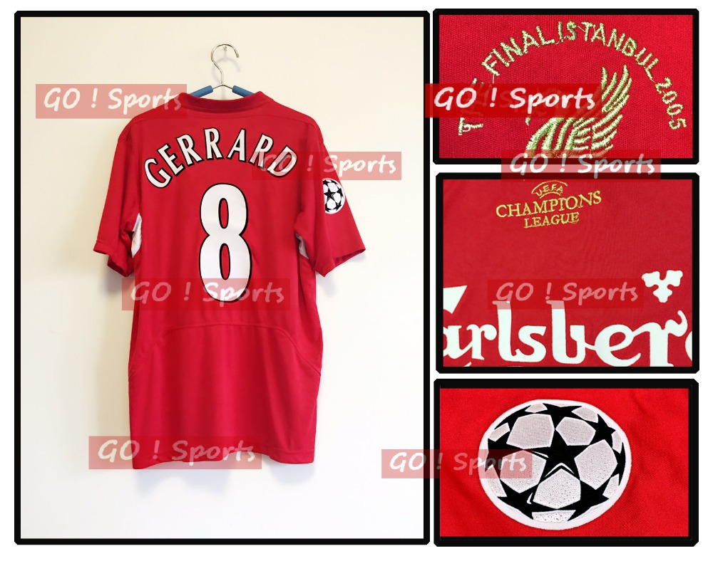 Hot! Retro Jersey Gerrard/ Alonso 2005 Final Istanbul Football Jersey Soccer Accessories(China (Mainland))
