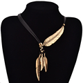 Fashion Bohemian Style Black Rope Chain Feather Pattern Pendant Necklace For Women Fine Jewelry Collares Statement