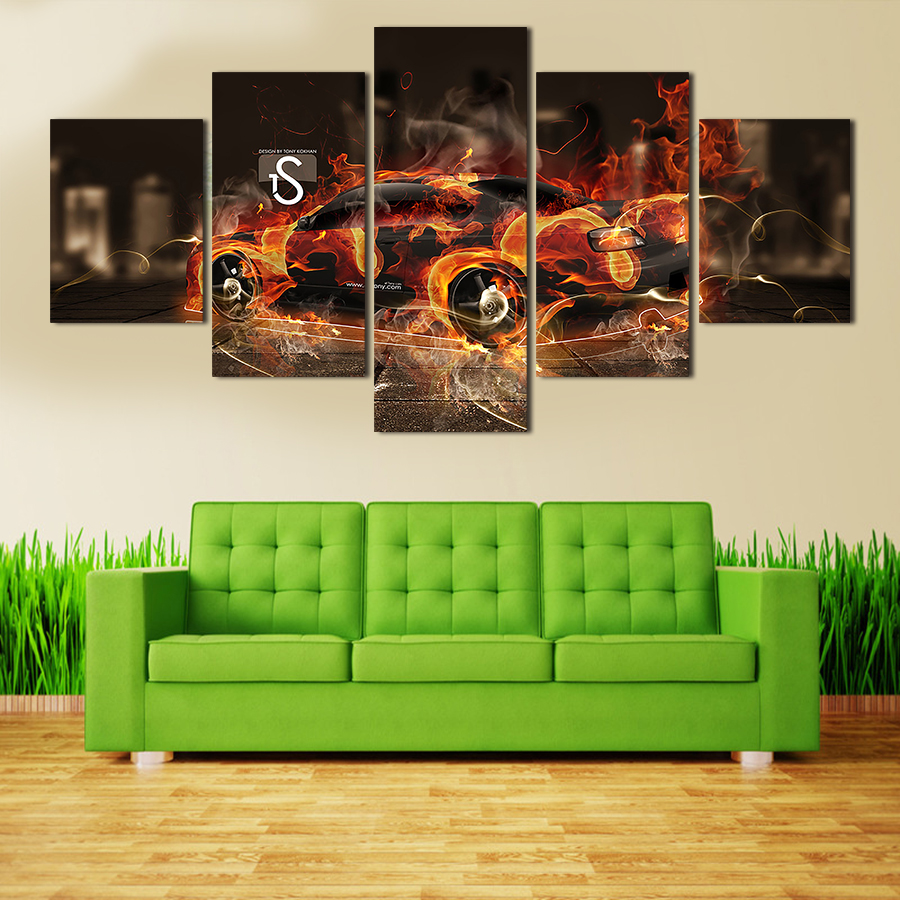 2016 Wall Art Picture 5 Panel Cool Sports Car Large Hd