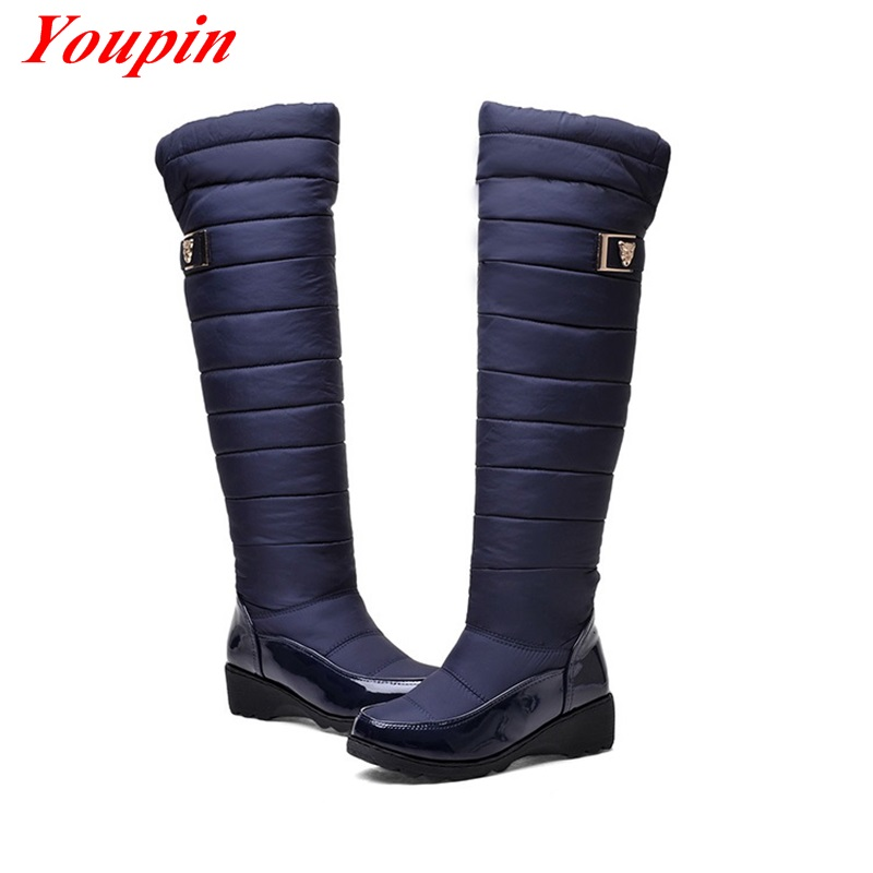 2015 new womens winter snow boots comfortable warm fashion Wedges warm boots Explosion models size Black woman boots Knee boots<br><br>Aliexpress