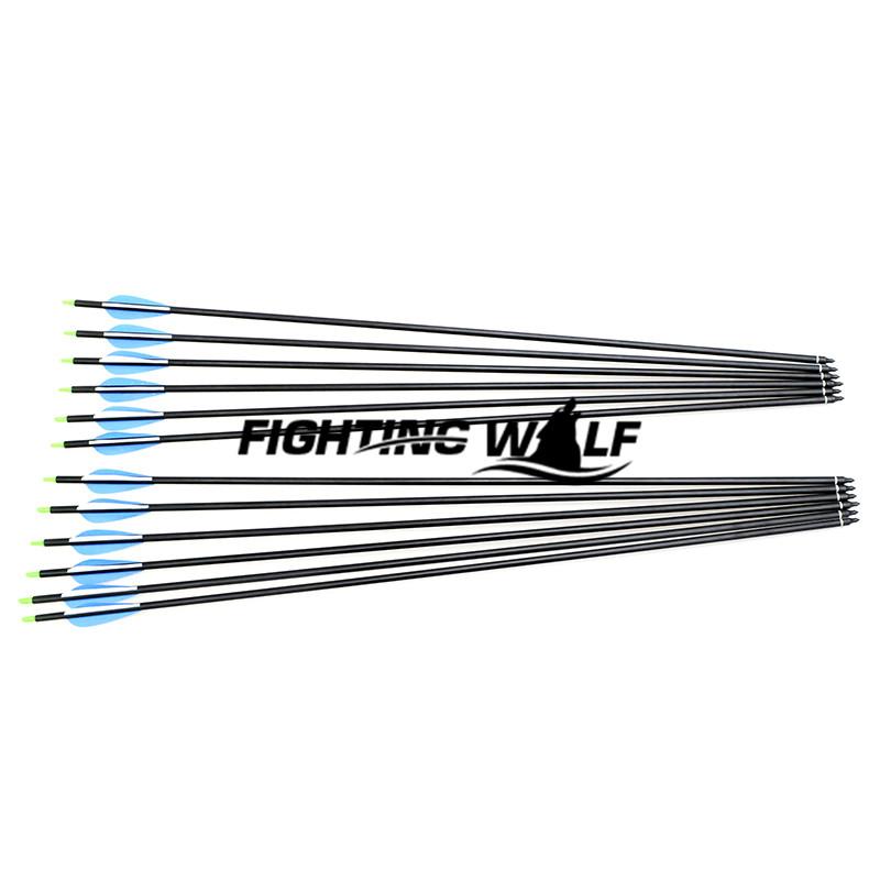 12pcs 31 Inch 80cm Spine 500 Blue White Target Practice Steel Point Archery Fiberglass Arrows for