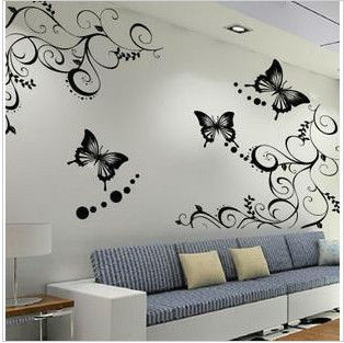 Butterfly home decor wall stickers large retro for Como hacer espejos decorativos