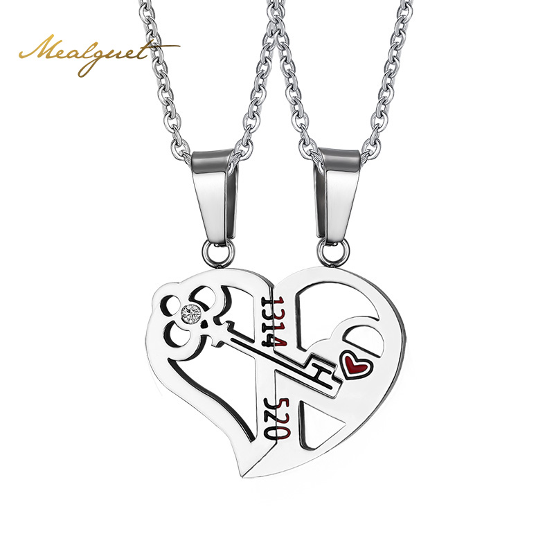 Meaeguet Silver Color Heart Key Necklace Pendant Couple Love Forever Wedding Stainless Steel Jewelry(China (Mainland))