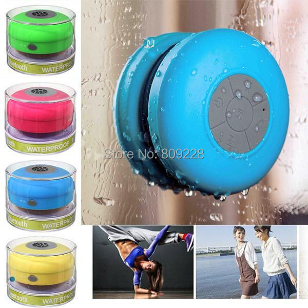 Portable Waterproof Wireless Bluetooth 3.0 Speaker Shower Car Handsfree Receive Call Music Suction Phone Mic NO plastic box(China (Mainland))